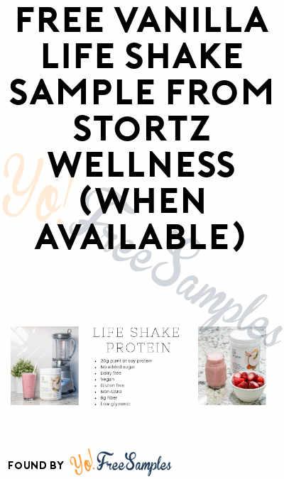 FREE Vanilla Life Shake Sample from Stortz Wellness