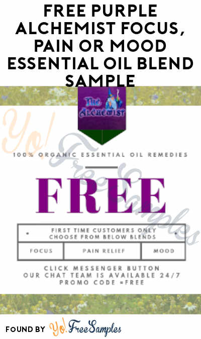 Shipping Costs Added: FREE Purple Alchemist Focus, Pain or Mood Essential Oil Blend Sample (Facebook Message Required)