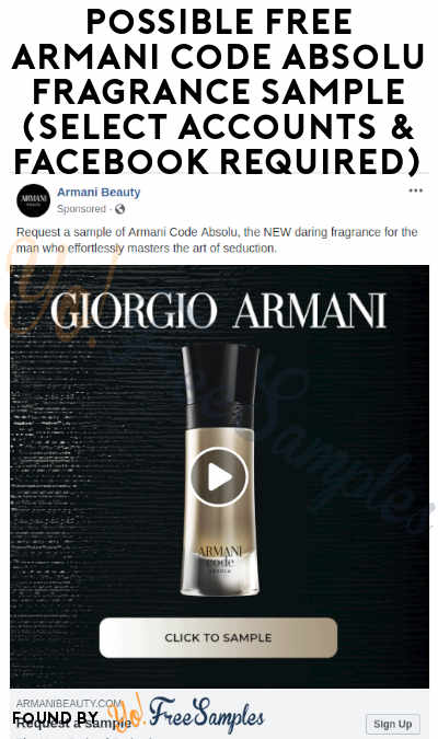 Possible FREE Armani Code Absolu Fragrance Sample (Select Accounts & Facebook Required)