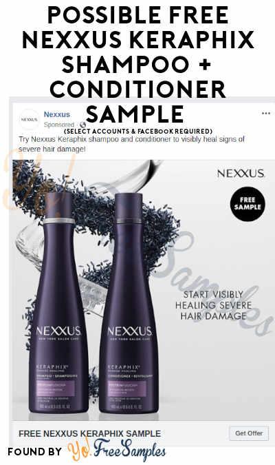 Possible FREE Nexxus Keraphix Shampoo + Conditioner Sample (Select Accounts & Facebook Required)