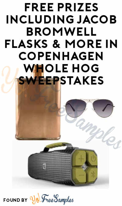 Enter Daily: FREE Prizes Including Jacob Bromwell Flasks & More in Copenhagen Whole Hog Sweepstakes (21+ In Age to Enter)