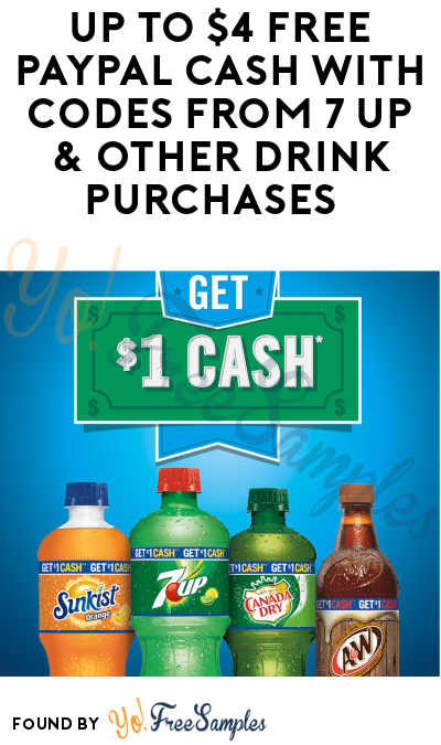 Up to $4 FREE PayPal Cash With Codes from 7UP & Other Drink Purchases