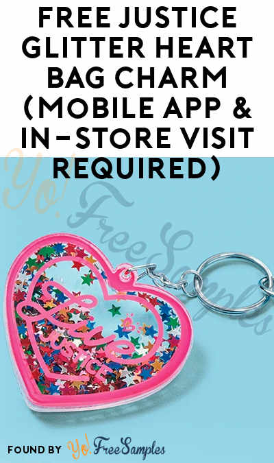 FREE Justice Glitter Heart Bag Charm (Mobile App & In-Store Visit Required)