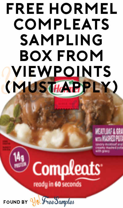 FREE HORMEL COMPLEATS Sampling Box From ViewPoints (Must Apply)
