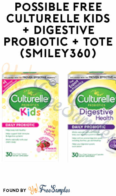 Possible FREE Culturelle Kids + Digestive Probiotic + Tote (Smiley360)