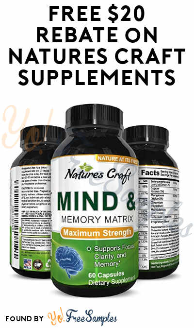 FREE $20 Rebate on Natures Craft Supplements