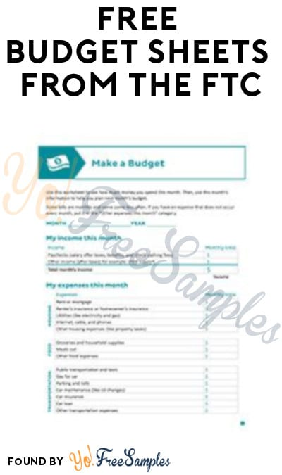 FREE Budget Sheets from The FTC