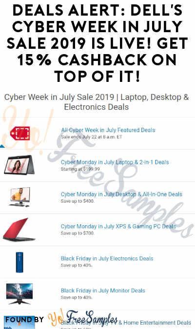 DEALS ALERT: Dell's Cyber Week in July Sale 2019 Is Live! Get 15% Cashback On Top Of It!