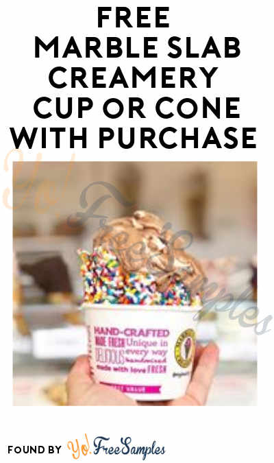 FREE Marble Slab Creamery Cup or Cone With Purchase