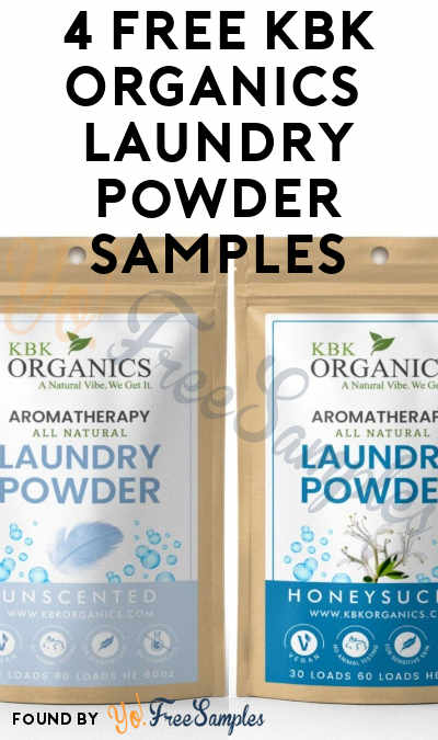 4 FREE KBK Organics Aromatherapy Laundry Powder Samples