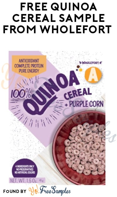 2 FREE Wholefort Quinoa Cereal Samples