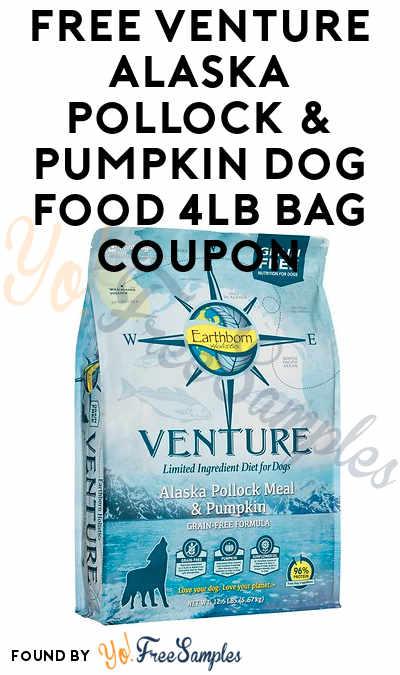 FREE Venture Alaska Pollock & Pumpkin Dog Food 4LB Bag Coupon