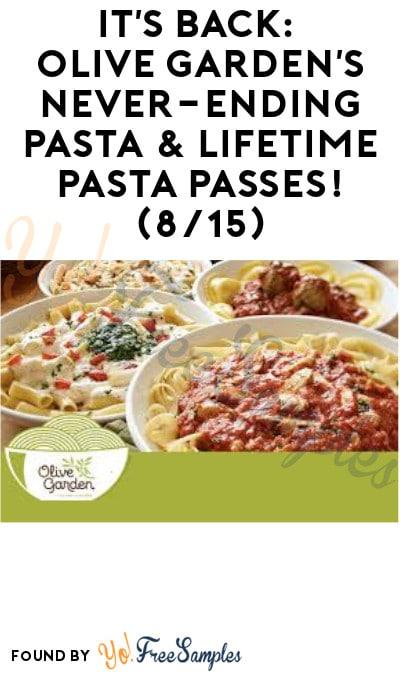 DEAL ALERT: Olive Garden's Never-Ending Pasta & Lifetime Pasta Passes! (8/15)