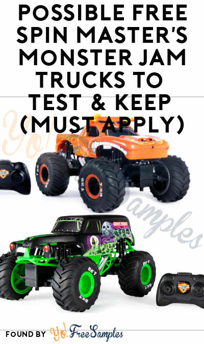 Possible FREE Spin Master's Monster Jam Trucks To Test & Keep (Must Apply)