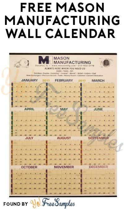 FREE Mason Manufacturing Wall Calendar (Email + Company Name Required)