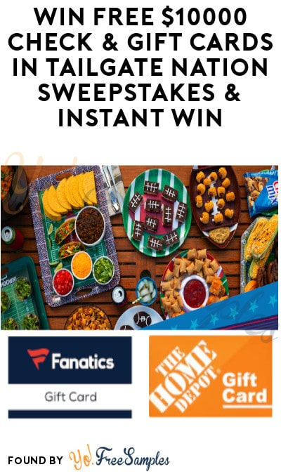 Enter Daily: Win FREE $10,000 Check & Gift Cards in Tailgate Nation Sweepstakes & Instant Win