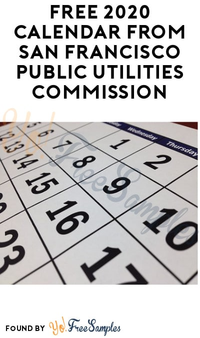 FREE 2020 Calendar from San Francisco Public Utilities Commission
