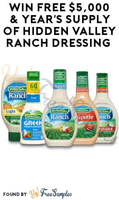 Win FREE $5,000 & Year's Supply of Hidden Valley Ranch Dressing