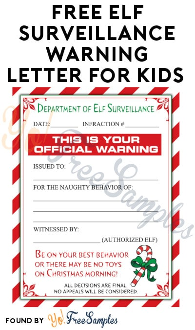 FREE Elf Surveillance Warning Letter for Kids
