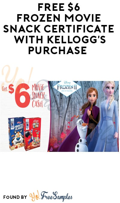 FREE $6 Frozen Movie Snack Certificate with Kellogg's Purchase