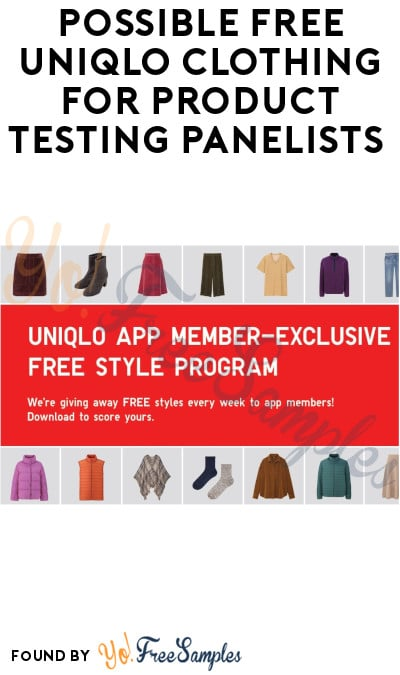 Possible FREE UNIQLO Clothing for Product Testing Panelists (Must Apply + Account & App Required)