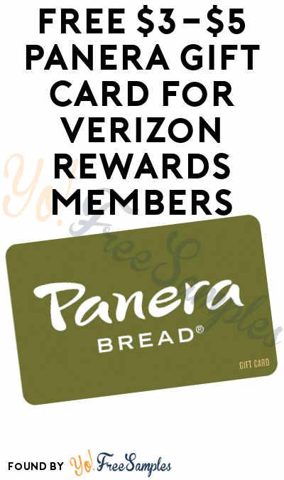 FREE $3-$5 Panera Gift Card For Verizon Rewards Members