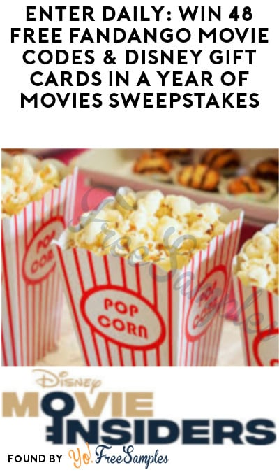 Enter Daily: Win 48 FREE Fandango Movie Codes & Disney Gift Cards in A Year of Movies Sweepstakes