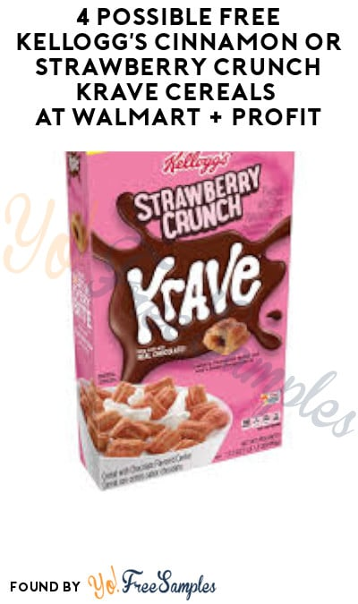 4 Possible FREE Kellogg's Cinnamon or Strawberry Crunch Krave Cereals at Walmart + Profit (Clearance, Coupon & Ibotta Required)