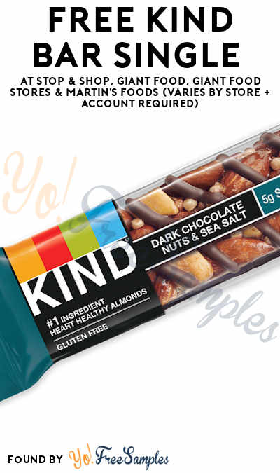 FREE KIND Bar Single At Stop & Shop, Giant Food, Giant Food Stores & Martin's Foods (Varies By Store + Account Required)