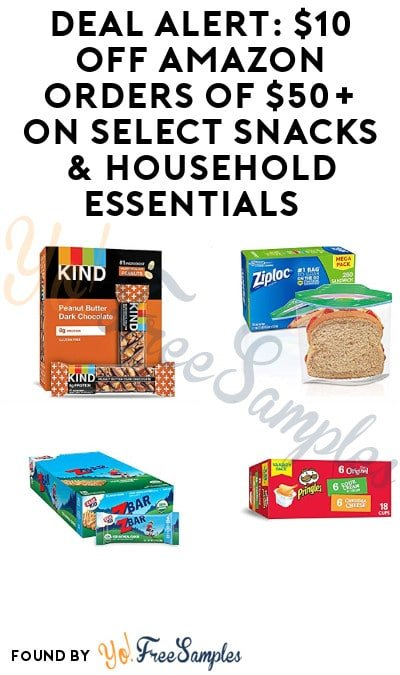 DEAL ALERT: $10 Off Amazon Orders of $50+ on Select Snacks & Household Essentials
