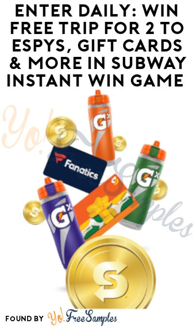 Enter Daily: Win FREE Trip for 2 to ESPYS, Gift Cards & More in Subway Instant Win Game
