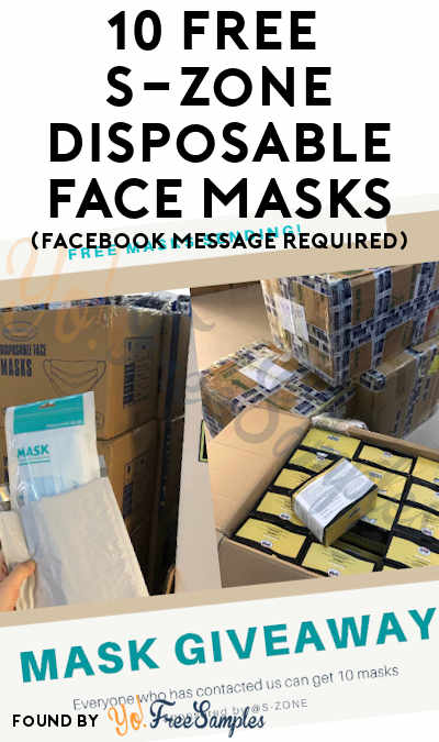 10 FREE S-Zone Disposable Face Masks (Facebook Message Required)