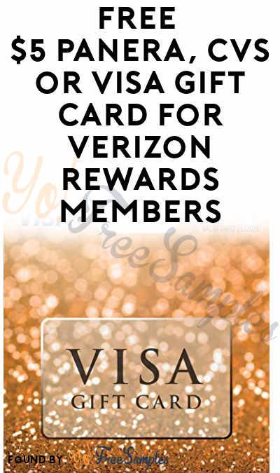 FREE $5 Panera, CVS or Visa Gift Card For Verizon Rewards Members
