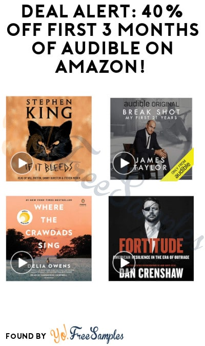 DEAL ALERT: 40% off First 3 Months of Audible on Amazon! (Credit Card Required)