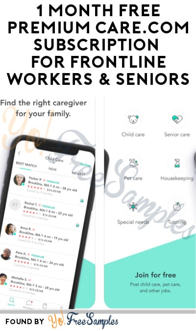 1 Month FREE Premium Care.com Subscription for Frontline Workers & Seniors