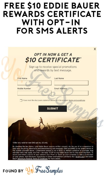 FREE $10 Eddie Bauer Rewards Certificate with Opt-In for SMS Alerts