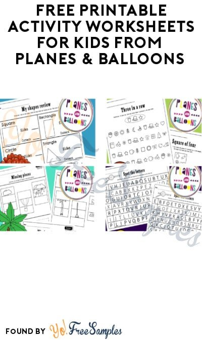 FREE Printable Activity Worksheets for Kids from Planes & Balloons