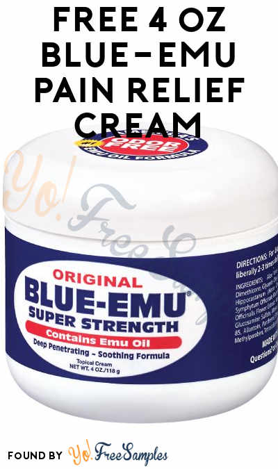 FREE Blue-Emu Pain Relief Cream 4 oz Sample Tub