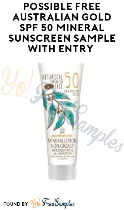 Possible FREE Australian Gold SPF 50 Mineral Sunscreen Sample with Entry (Facebook Required)