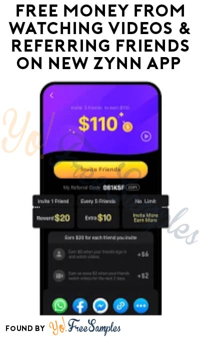 Free Money For Watching Videos Referring Friends On New Zynn App Code Required Yo Free Samples