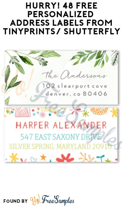 Hurry! 48 FREE Personalized Address Labels from Tinyprints (Credit Card Required)