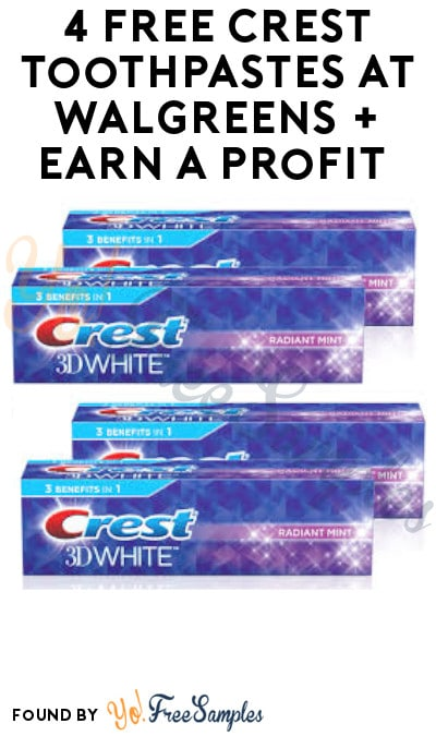 4 FREE Crest Toothpastes at Walgreens + Earn A Profit (Rewards Card Required)