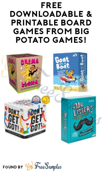FREE Downloadable & Printable Board Games from Big Potato Games!