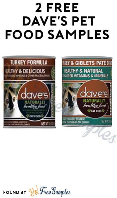 2 FREE Dave's Pet Food Samples