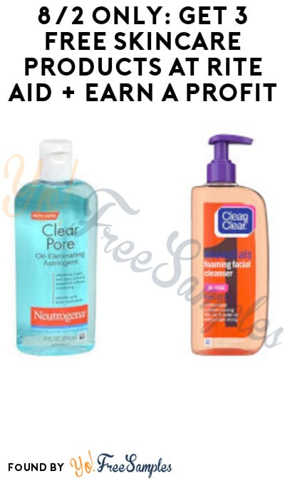 8/2 Only: Get 3 FREE Skincare Products at Rite Aid + Earn A Profit (Account, Coupon & Rebate Required)