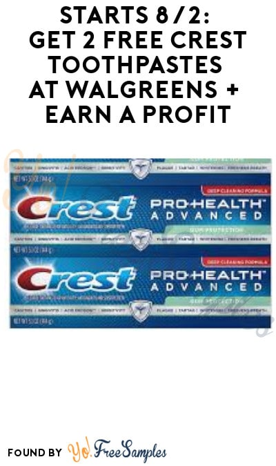 2 FREE Crest Toothpastes at Walgreens + Earn A Profit (Account Required)