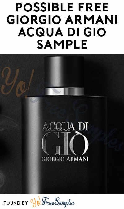 Possible FREE Giorgio Armani Acqua Di Gio Sample (Select Accounts & Facebook Required)
