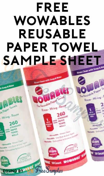 FREE Wowables Reusable Paper Towel Sample Sheet