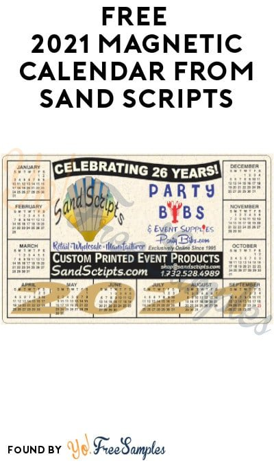 FREE 2021 Magnetic Calendar from Sand Scripts (Email Required)