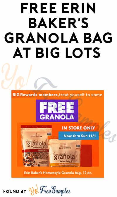 FREE Erin Baker's Granola Bag at Big Lots (Rewards Card Required)